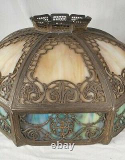 Antique Victorian Art Nouveau 24 Diameter Slag Glass 8 Panel Light Shade