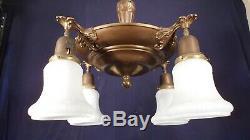 Antique Victorian Art Nouveau 4 Arm Brass Chandelier With Milk Glass Shades