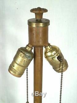 Antique Victorian Art Nouveau Art Deco Stained Slag Glass Lamp Shade Base