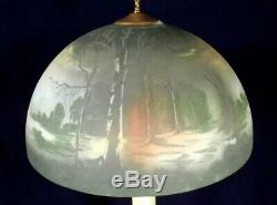 Antique Victorian Art Nouveau Brass Lamp With Hand Painted Milk Glass Shade