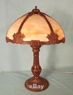 Antique Victorian Art Nouveau Caramel Slag Glass 6 Panel Column Lamp