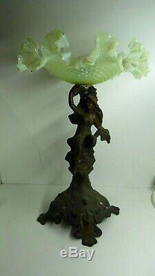 Antique Victorian Art Nouveau Cast Lady Head Base Vaseline Ruffled Comport Bowl