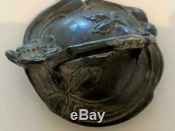 Antique Victorian Art Nouveau Cast Metal Crystal Glass Trinket Jewelry Ring Box