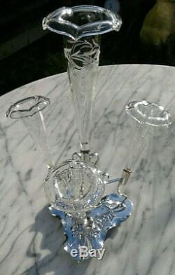 Antique Victorian Art Nouveau Cut Glass Silver Plated Epergne Bud Vase 13.5Tall