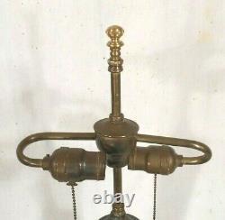 Antique Victorian Art Nouveau Double Socket Stained Leaded Glass Lamp Base