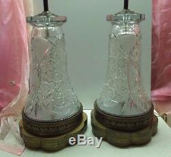 Antique Victorian, Art Nouveau Era Heavily Hand Cut Brilliant Glass Lamps PAIR