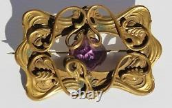 Antique Victorian Art Nouveau Gilt Brass Faceted Amethyst Glass Brooch Sash Pin
