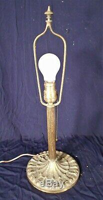 Antique Victorian Art Nouveau Miller Stained Slag Glass Dome Lamp