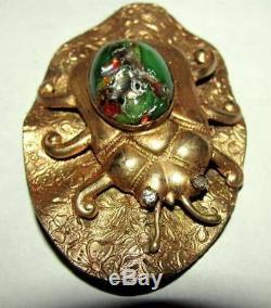 Antique Victorian Art Nouveau Neiger Foiled Czech Glass Scarab Bug Insect Pin