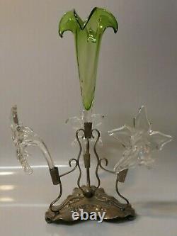 Antique Victorian Art Nouveau Silver Plate & Hand Blown Art Glass Center Piece