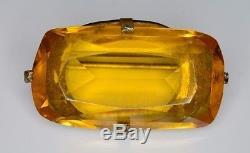 Antique Victorian Art Nouveau Silver Tone Topaz Glass Filigree Pin Brooch (B)