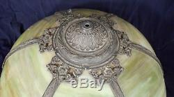 Antique Victorian Art Nouveau Slag Stained Glass Dome Top Lamp Shade