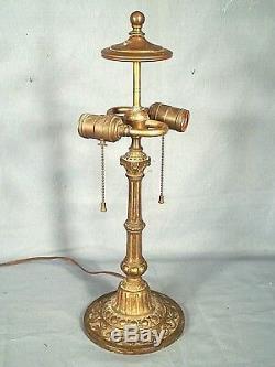 Antique Victorian Art Nouveau Stained Glass Cast Iron Fluted Column Lamp Base