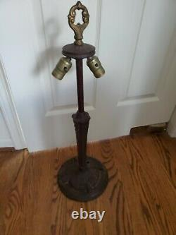 Antique Victorian Art Nouveau Stained Slag Glass Double Socket Lamp Base #2