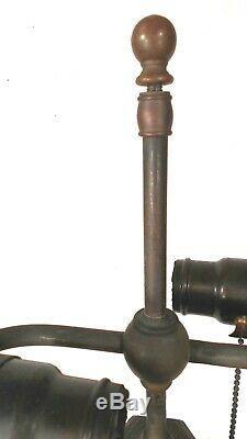 Antique Victorian Art Nouveau Stained Slag Glass Lamp Base
