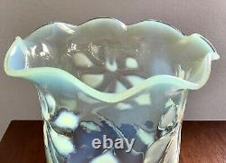 Antique Victorian Art Nouveau Vaseline Glass Oil Lamp Lampshade