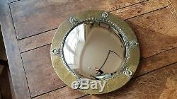 Antique Victorian Arts & Crafts Brass Glass Fish Eye Wall Mirror Made In England