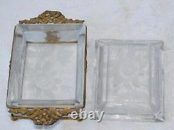 Antique Victorian Baccarat French Bronze Ormolu Etched Frost Crystal Jewelry Box