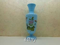 Antique Victorian Blue Bristol Glass Vase Hand Painted & Blown Flowers 12 1/4
