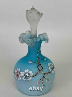 Antique Victorian Blue Burmese Ruffled Edge Glass Perfume Bottle Thomas Webb