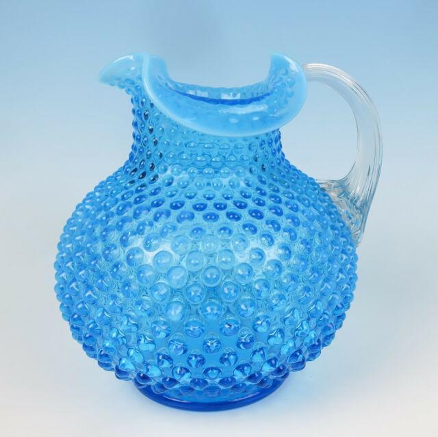 Antique Victorian Blue Hobnail Glass Pitcher Reeded Handle Northwood Hobbs