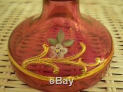 Antique Victorian Bohemian Glass Mantle Lustres. Gold Gilt, Floral Hand Paint