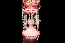 Antique Victorian Bohemian Hand Painted Overlay Glass Mantel Luster