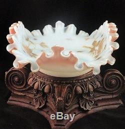 Antique Victorian Bohemian Harrach Cased Blue Rose Gold HP Enamel Art Glass Bowl