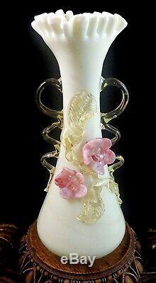 Antique Victorian Bohemian Harrach Custard Applied Floriform Art Glass Vase UV+
