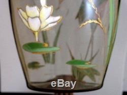 Antique Victorian Bohemian Harrach Hand Painted Enamel Heron Bird Art Glass Vase