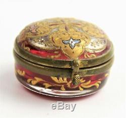 Antique Victorian Bohemian Moser Czech Hand Painted Cranberry Glass Pill Box