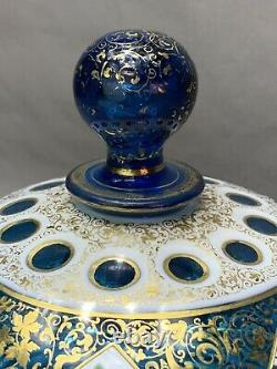 Antique Victorian Bohemian Moser Glass White Cut To Blue Overlay Cheese Dish