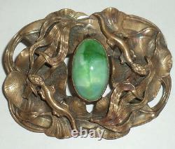 Antique Victorian Brass & Green Art Glass Stone Sash Pin Brooch Lizards Geckos