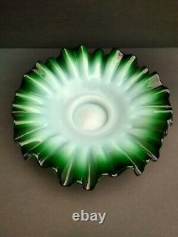 Antique Victorian Brides Basket Bowl Emerald Green Cased Glass Ruffled