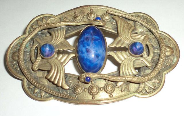 Antique Victorian Brooch Sash Pin Brass Lapis Art Glass Snakes Serpents Egyptian