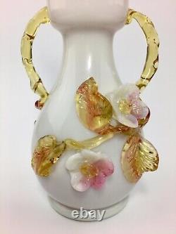 Antique Victorian Cased & Applied Art Glass Vase Stevens & Williams ca. 1880