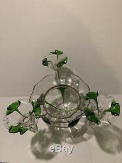 Antique Victorian Celedon Green Opalescent Glass 4 horn Epergne