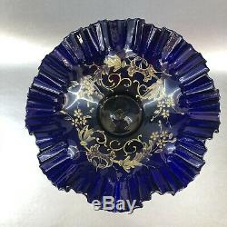 Antique Victorian Cobalt Blue Ruffled Art Glass Silver Plate Bowl Brides Basket