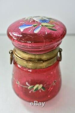Antique Victorian Cranberry Crackled MOSER Glass Morning Glory Enamel Vanity Box
