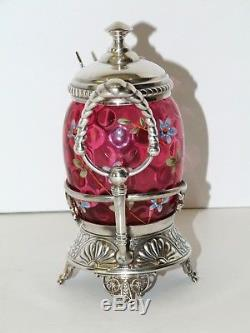 Antique Victorian Cranberry Thumbprint Enameled Footed Pickle Castor