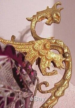 Antique Victorian Czech Bohemian Amethyst Cut Crystal Brides Bowl Dragon Holder