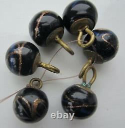 Antique Victorian Czech black gold foil lampwork ball buttons set 6 Art Nouveau