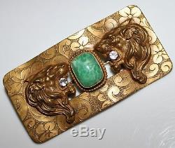 Antique Victorian Double Roaring Lion Paste & Art Glass Brass Sash Pin Brooch