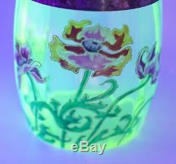 Antique Victorian Enameled Vaseline Art art Glass Biscuit Jar Hand Painted Rare