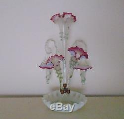 Antique Victorian Epergne Glass Cranberry or Ruby Trim Vase c. 1880 Art Nouveau