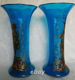 Antique Victorian Era French Style Hand Blown Blue Art Glass Vases Hand Painted