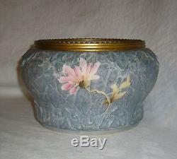Antique Victorian Era Kelva C F Monroe Opalware Opal Glass Mottled Floral Ferner