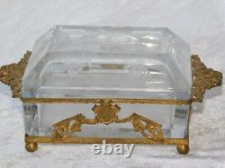 Antique Victorian French Bronze Ormolu Etched Frost Crystal Jewelry Box
