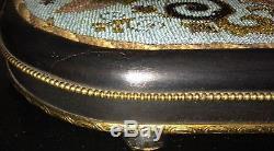 Antique Victorian Glass Beadwork Tray Ebonised Brass Handle Art Nouveau