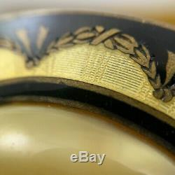 Antique Victorian Guilloche Enamel And Art Glass Brooch Mourning Swag Wreath